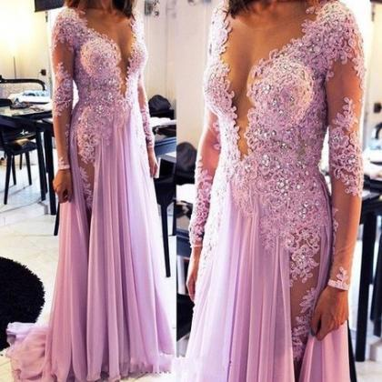 Sexy Lace Appliqued Lilac Prom Dres..