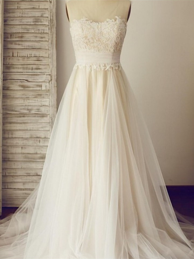 Sleeveless Lace Appliqués A-line Wedding Dress with Sheer Shoulder Straps and Train