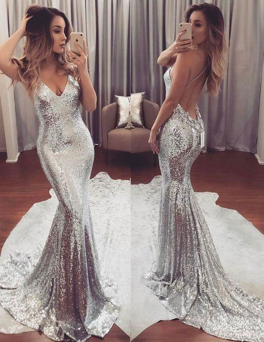 0780a18f Deep V neck Glitter Prom Dresses, Backless Sexy Mermaid Prom Grown APD2773a