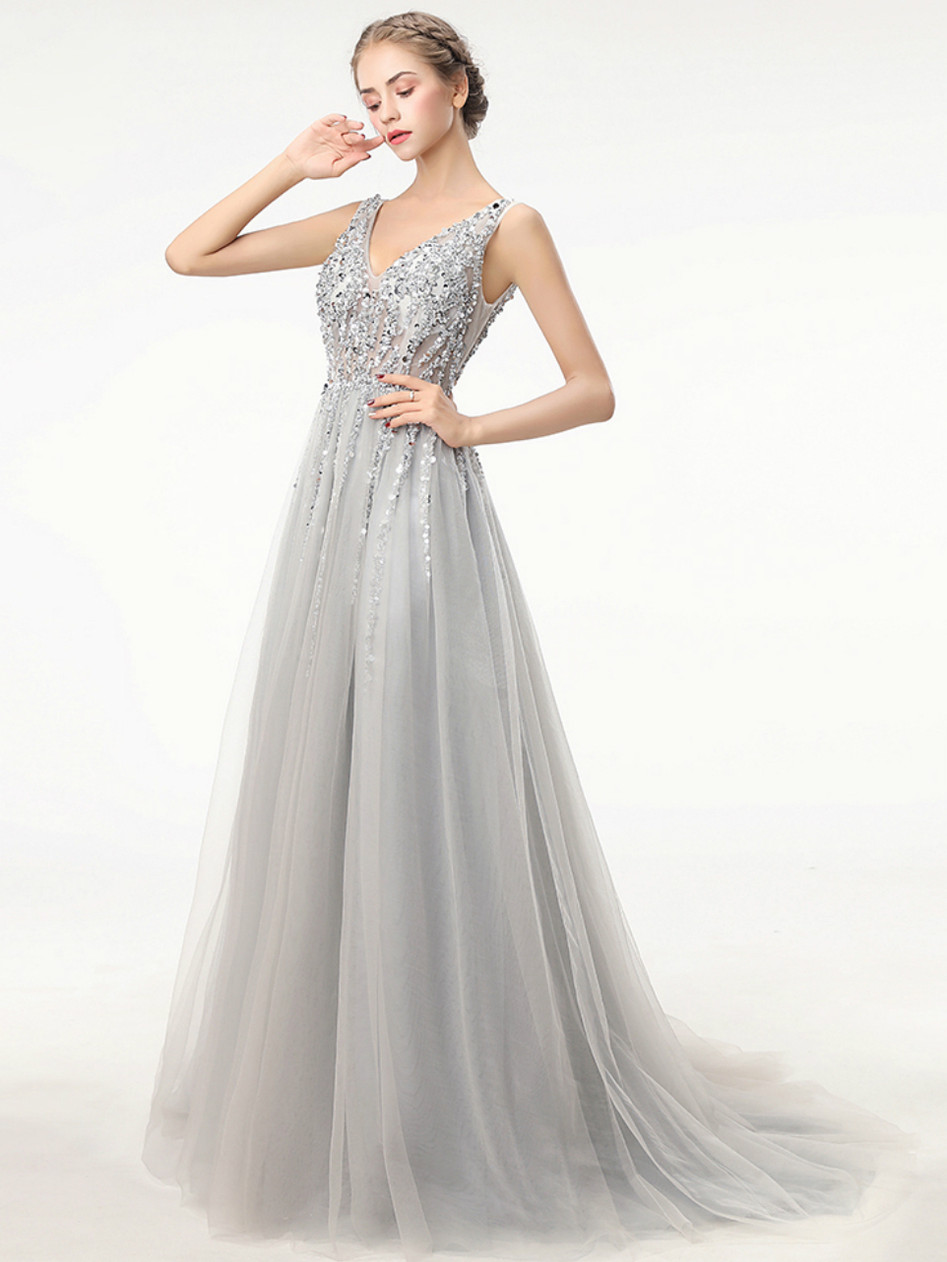 Deep V Neck Sleeveless Dresses,Chapel Train Prom Dresses ASD27110