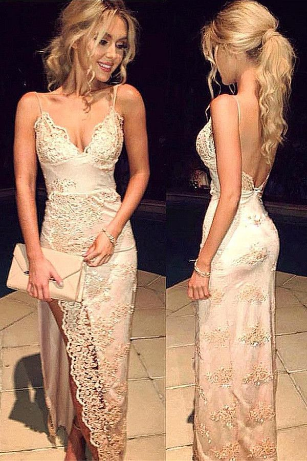 23b9531d1c2c A-line Spaghetti Strap Backless Lace Appliqued Prom Dresses Floor length  Dresses ASD26107