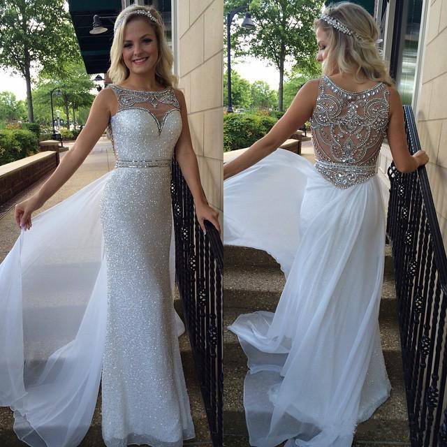 9d43e07a9516 Silver sequins lace prom dresses sheath white chiffon with beaded formal  dresses