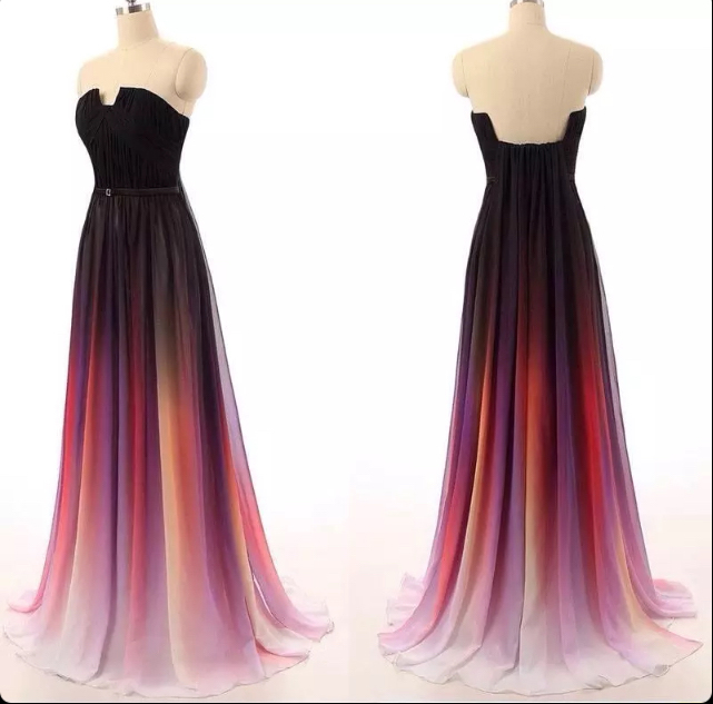 9b01b8168ad A-line strapless ombre prom dresses with black sash ombre bridesmaid dresses