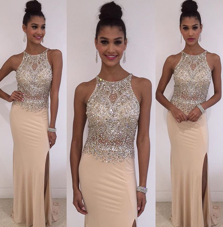 Sheath Nude Jersey With Beaded Prom Dresses Halter Slip On Skirt