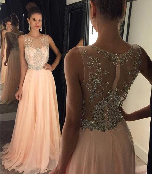 Nude Chiffon With Beaded Bodice Long Prom Dresses 2016 Formal ...