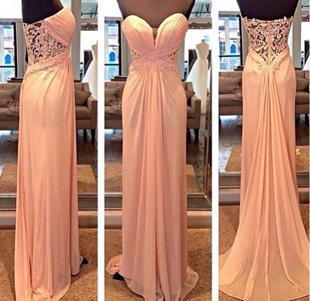 A-line Sweetheart neck chiffon long prom dresses