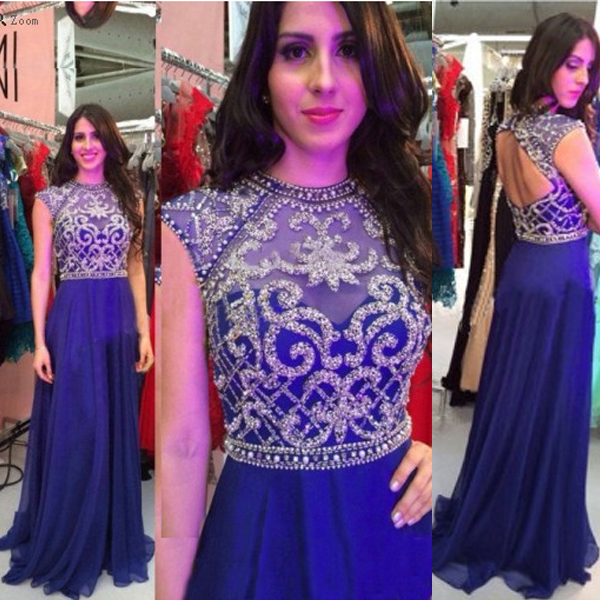 47e9e4d955 Royal Blue Chiffon Skirt Beaded Bodice Long Prom Dresses with Cap Sleeve