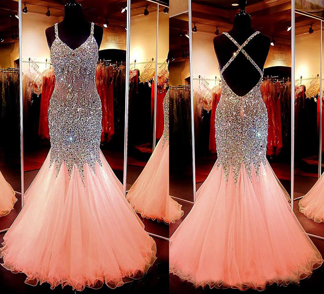 Spaghetti Strap Pink Tulle Sparkly Mermaid Prom Dress,Long Backless ...