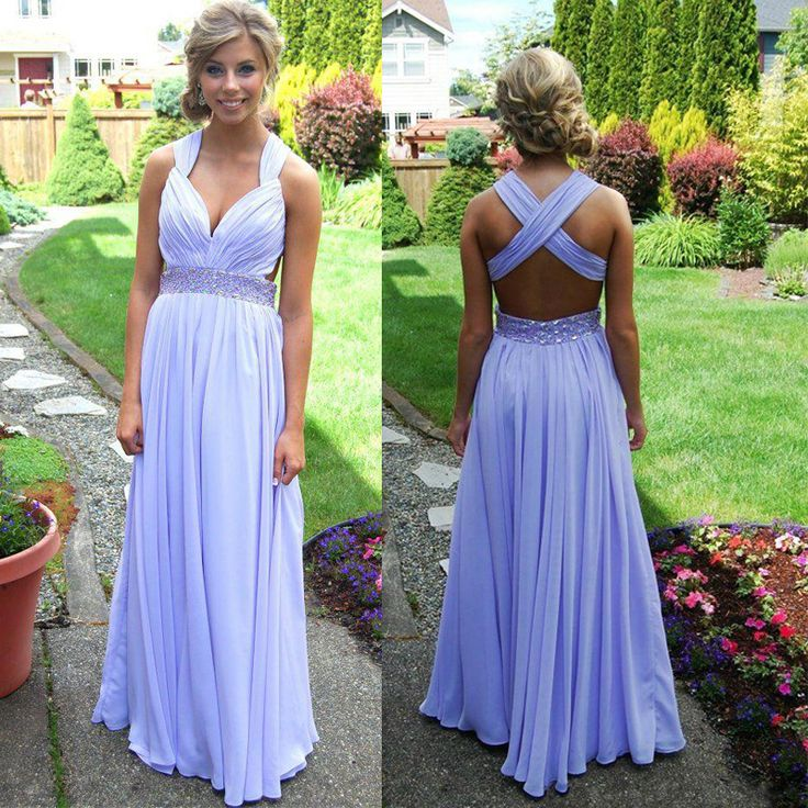 A-line Lavender Chiffon Backless Prom Dress c4a9ac24e59e