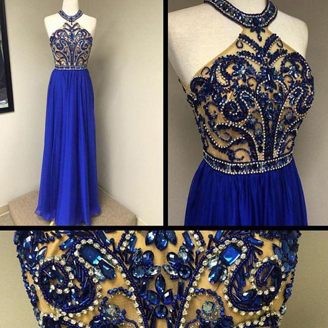 0957429c4c Royal Blue Chiffon Skirt Beaded Bodice Halter Prom Dresses,Long 2016 Formal  Dresses 1713
