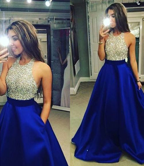 Beaded Bodice Royal Blue Satin Prom Dress,Halter Long Formal Dress,Cute Prom Dress for 2016 Party 1717