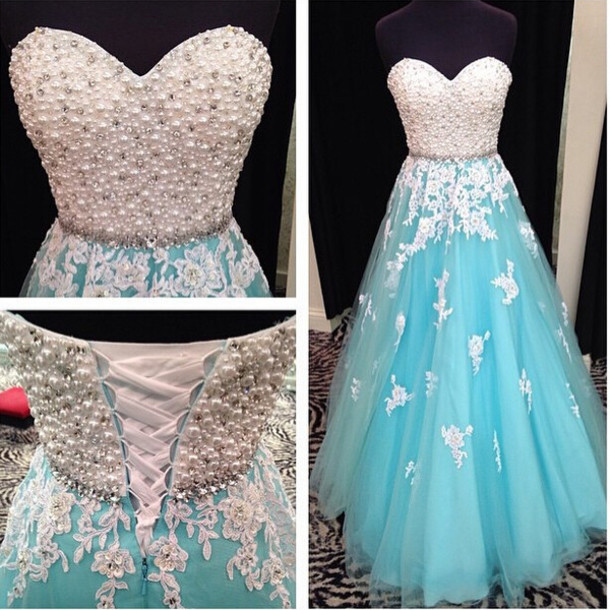 8afef62f7494 Sweetheart neck Tiffany Blue Tulle and White Lace Appliqued Prom Dresses