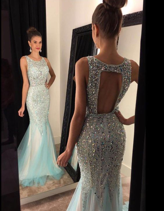 Shinny Beaded Mermaid Prom Dresses,Open Back Evening Dresses,Long ...