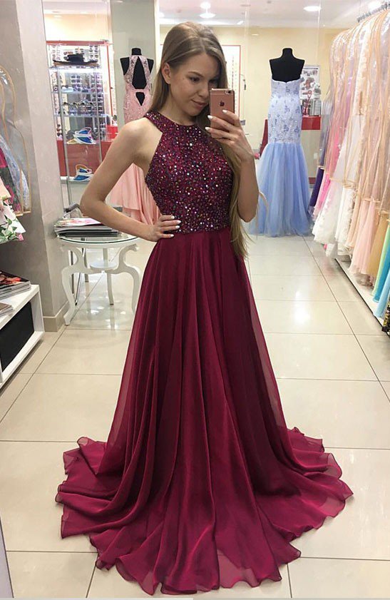 A Line Halter Maroon Chiffon Prom Dresses Crystal Beaded Long Formal
