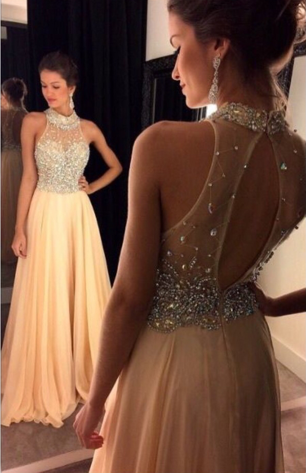 Beaded Prom Dresses,Long Prom Dresses,Chiffon