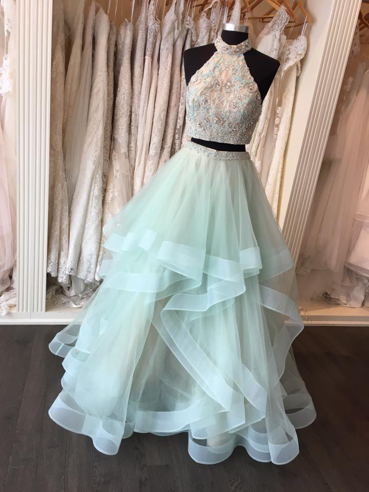Beaded Bodice 2 Pieces Prom Dresslight Baby Blue Organza Prom