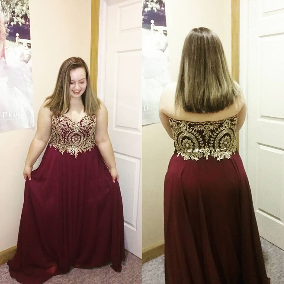 Gold Lace Appliqued Plus Size Prom Dresses,Burgundy Dress For Plus Size  Girl,Large Size Formal Dress,2267