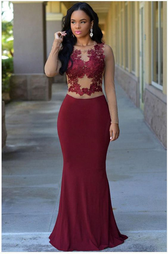 See Through Lace Appliqued Top Mermaid Prom Dressesburgundy Jersey