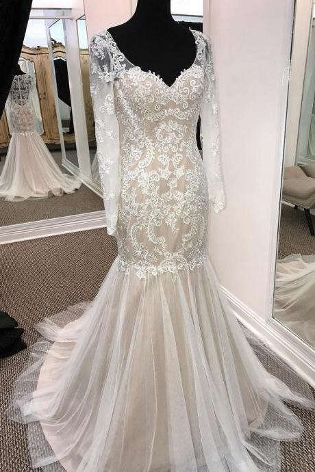 Sheath V-neck Long Sleeve Wedding Dresses Summer Appliqued Dresses APD2675