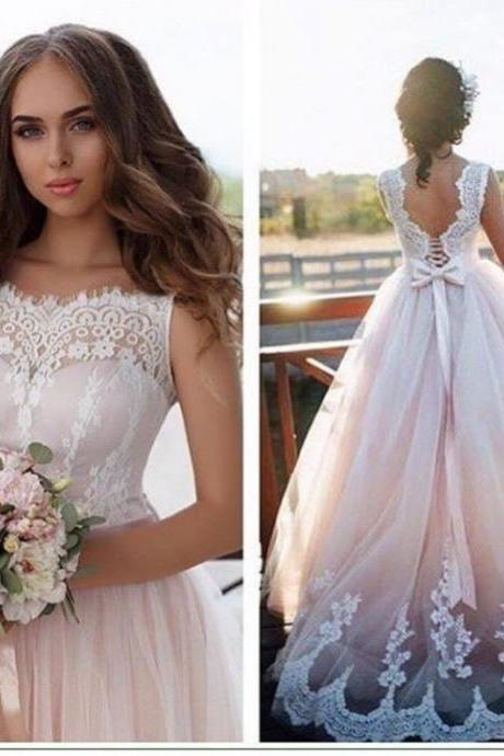 A-line Princess Sweetheart Neck Appliqued Wedding Dresses Sweep Train Dresses APD2677