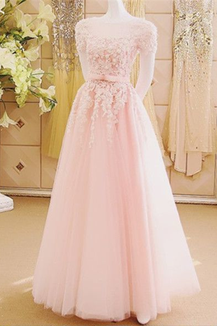 A-line Cap Sleeve Floor length Blush Pink Wedding Dresses Appliqued Dresses ASD2569