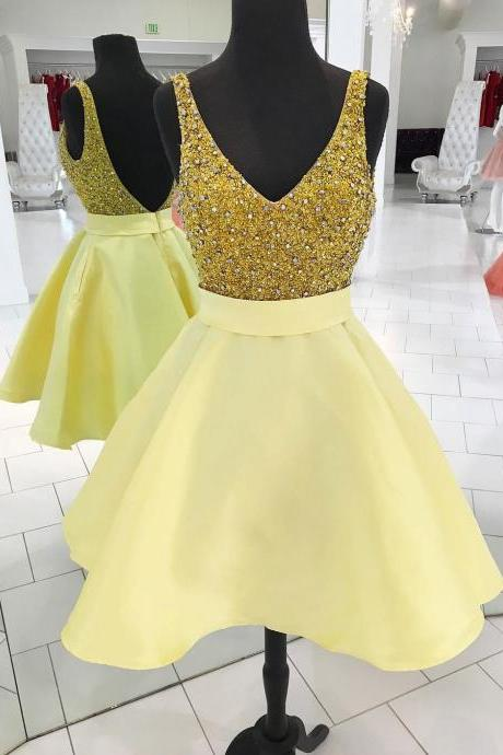 A-line V neck Shiny Homecoming Dresses, Backless Sexy Yellow Dresses APD2767a