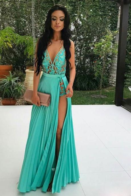 A-line Deep V Neck Appliqued Prom Dresses Sexy Floor Length Prom Gown APD2782