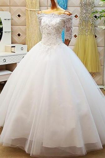 A-line Off-the-Shoulder White Wedding Dresses, Lace up Dresses ASD2628