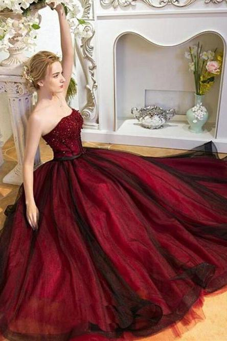 A-line Princess Sweetheart Neck Prom Dresses, Burgundy Evening Dresses for Autumn ASD2662