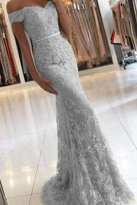 2018 V Neck Sheath Prom Dresses, Sexy Off-the-Shoulder Prom Dresses for Autumn ASD2688
