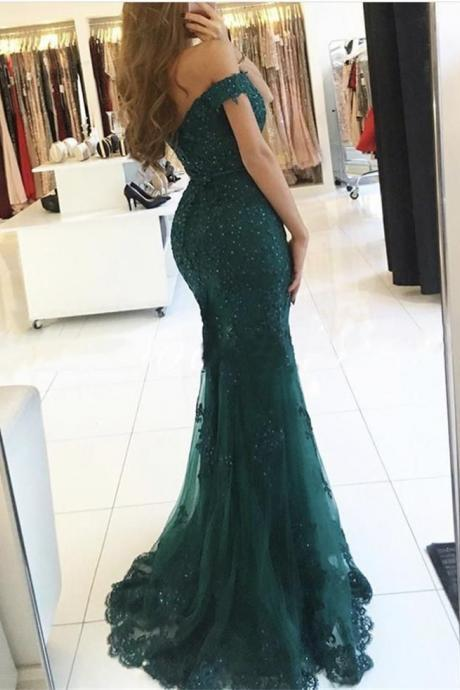 2018 Sweetheart Neck Sheath Prom Dresses, Sexy Off-the-Shoulder Lace Prom Dresses for Autumn ASD2689