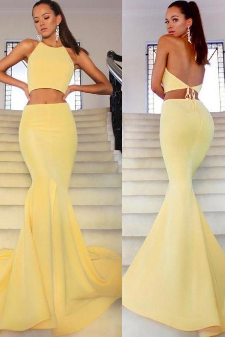 Two Piece Halter Neck Sleeveless Sheath Mermaid Prom Dresses, Sexy Backless Dresses ASD26719