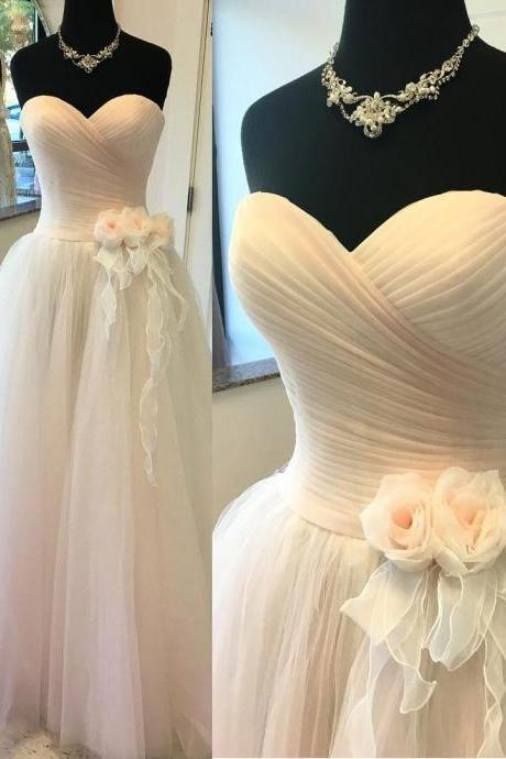 2017 A- line Princess Sweetheart Neck Strapless Bridal Dresses ASD27022