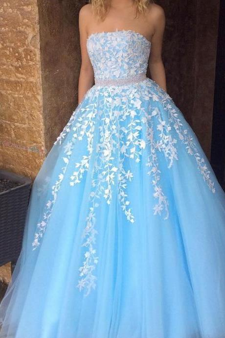 A-line Princess Straight-Neck Blue Floor Length Prom Dresses,APD3108a