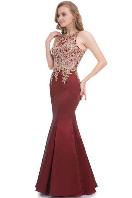 2018 Scoop Neck Sleeveless Mermaid Floor Length Prom Dresses APD3116a