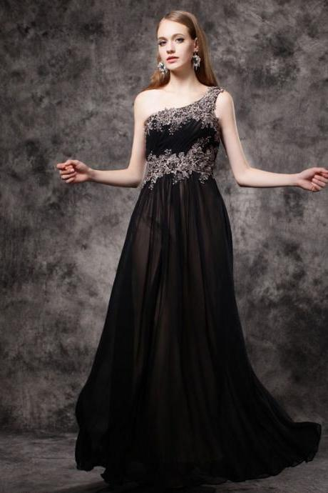 A-line Princess Asymmetric Neck Sleeveless Floor Length Prom Dresses APD3123a
