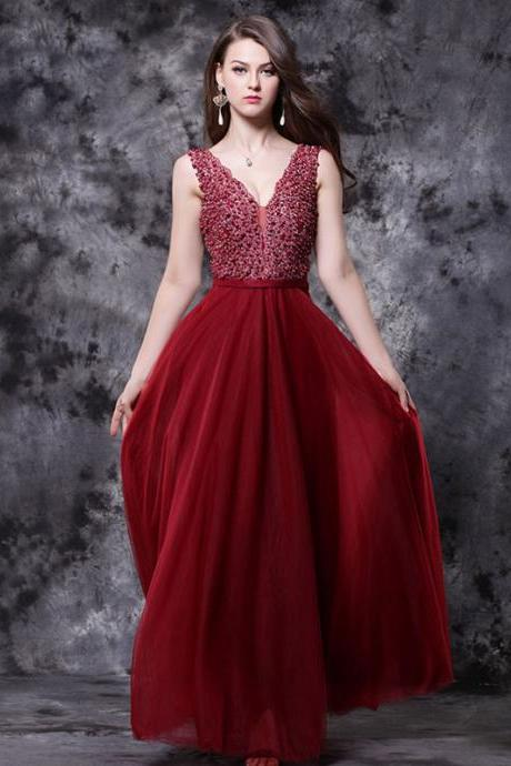 A-line Deep V Neck Sleeveless Beaded Floor Length Prom Dresses APD3124a