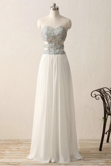 A-line Princess Sweetheart Neck Strapless Floor Length Prom Dresses ASD27067