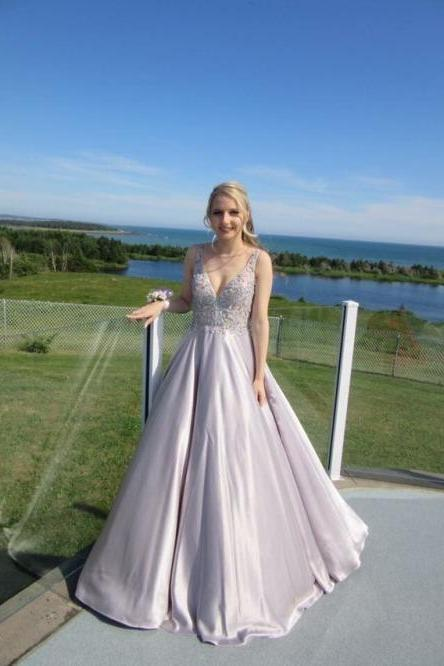A-line Princess V-neck Sleeveless Floor Length Prom Dresses,ASD27081