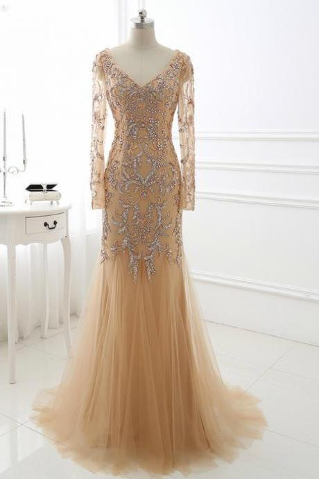 Chic Deep V Neck Long Sleeve Floor Length Prom Dresses ASD27086