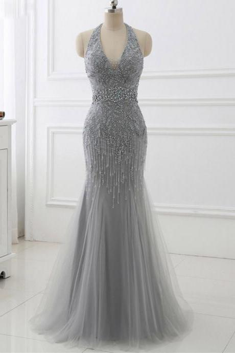 Chic Deep V-neck Sleeveless Floor Length Prom Dresses,Shiny Party Dresses. ASD27094