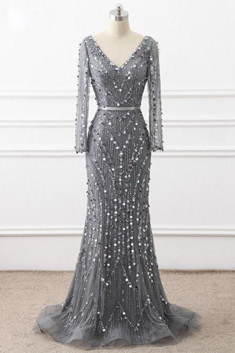 Chic V Neck Long Sleeve Chapel Train Prom Dresses,Shiny Beaded Dresses. ASD27101