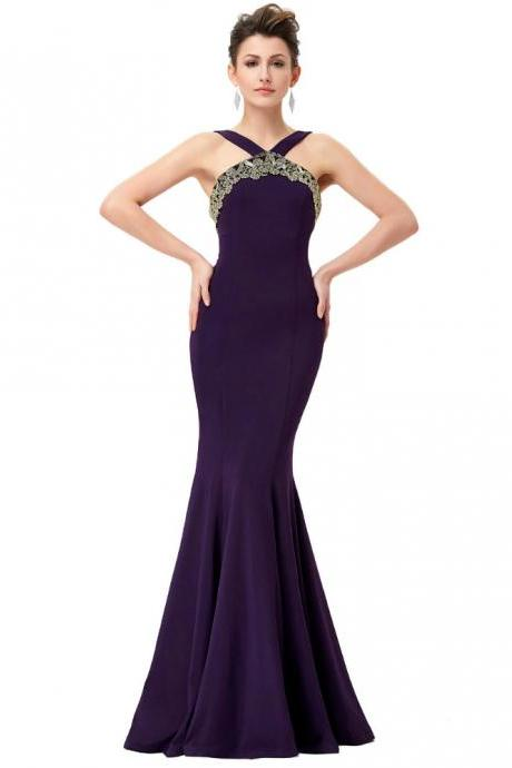 Halter Neck Sleeveless Floor Length Prom Dresses, Mermaid Dresses ASD27116