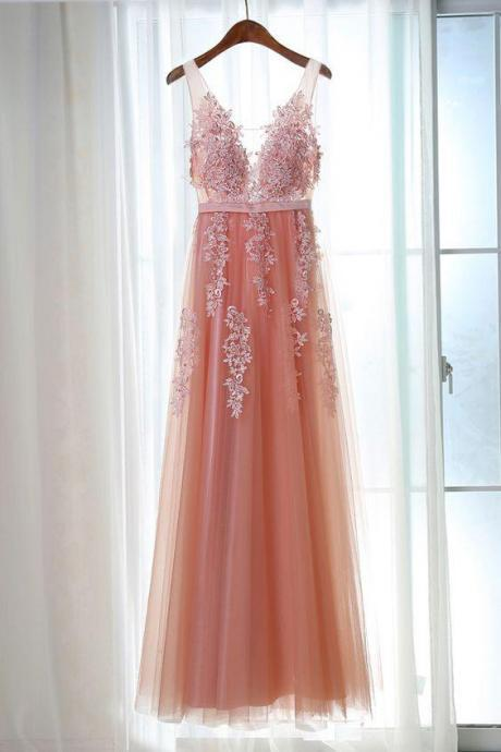 A-line Princess V Neck Sleeveless Floor Length Prom Dresses ASD27123