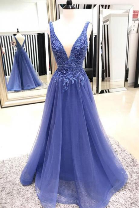 A-line Princess Deep V Neck Sleeveless Floor Length Prom Dresses ASD27126