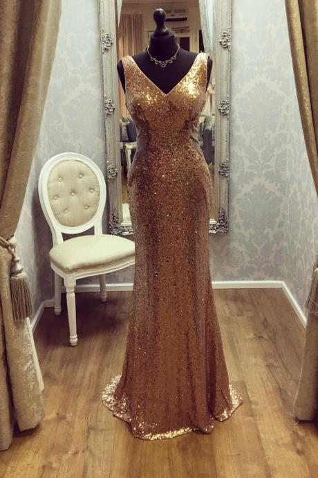 Gold Sequins Lace Mermaid Prom Dresses,V-neck Lace Formal Long Evening Gowns 3287
