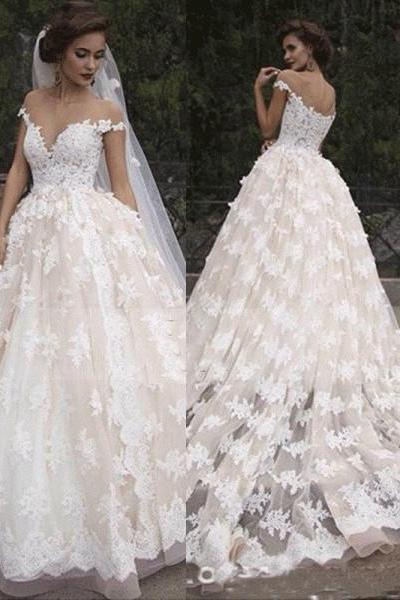 Delicate Lace Off-the-shoulder Neckline Ball Gown Wedding Dresses With Appliques WD099