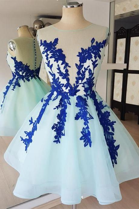 Eye-catching Tulle Scoop Neckline Short Length A-line Homecoming Dresses HD128