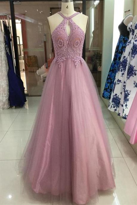 Charming Tulle Halter Neckline A-line Prom Dresses With Beaded Appliques PD225