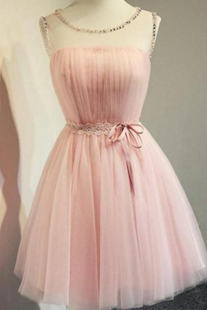 Eye-catching Tulle Scoop Neckline A-line Homecoming Dresses HD172